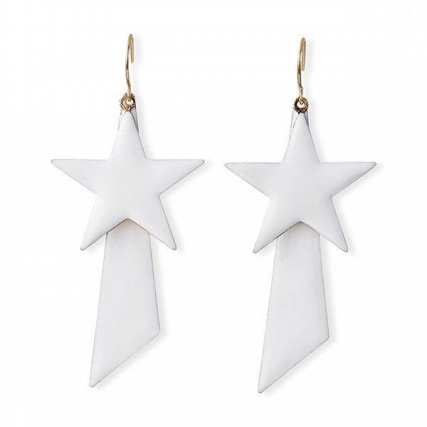 Nicki Minaj Dangle White Star Earrings Hot Stylish 4th of July accent designer - $17.84