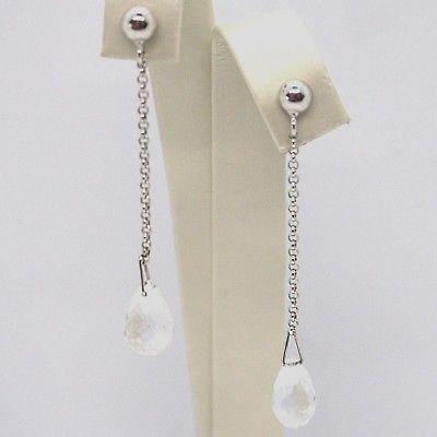 Drop earrings 18k White Gold, Chain Rolo, Tourmaline Drop