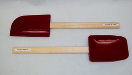 2 Red Silicone Spatulas w/Wooden Handles ~ One Flat Head, One Round Head - $14.65