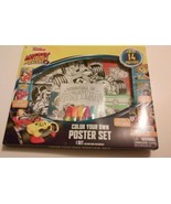 Disney MickeyMouse RoadsterRacers Color Your Own Poster Set W/Markers 14... - $5.93