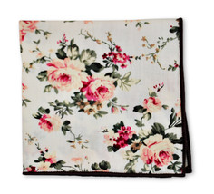 Frederick Thomas ivory rose floral cotton pocket square handkerchief FT3400