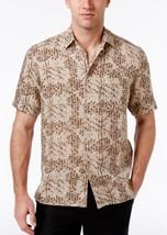 New Mens Tasso Elba Island Short Sleeve Floral Beige Khaki Silk Linen Shirt S - $21.99