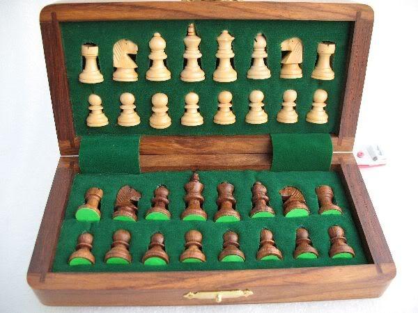 """7"""" Travelling Folding Magnetic Chess Set Shesham Wood"""