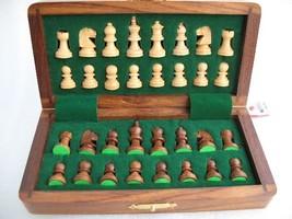 """7"""" Travelling Folding Magnetic Chess Set Shesham Wood image 1"""