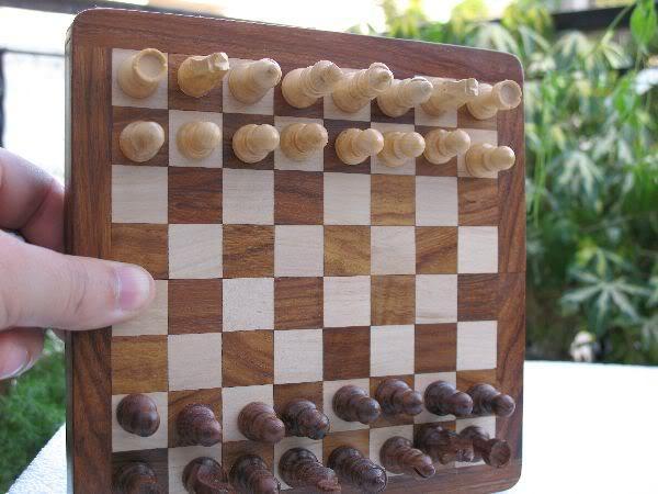 """7"""" Travelling Folding Magnetic Chess Set Shesham Wood image 6"""