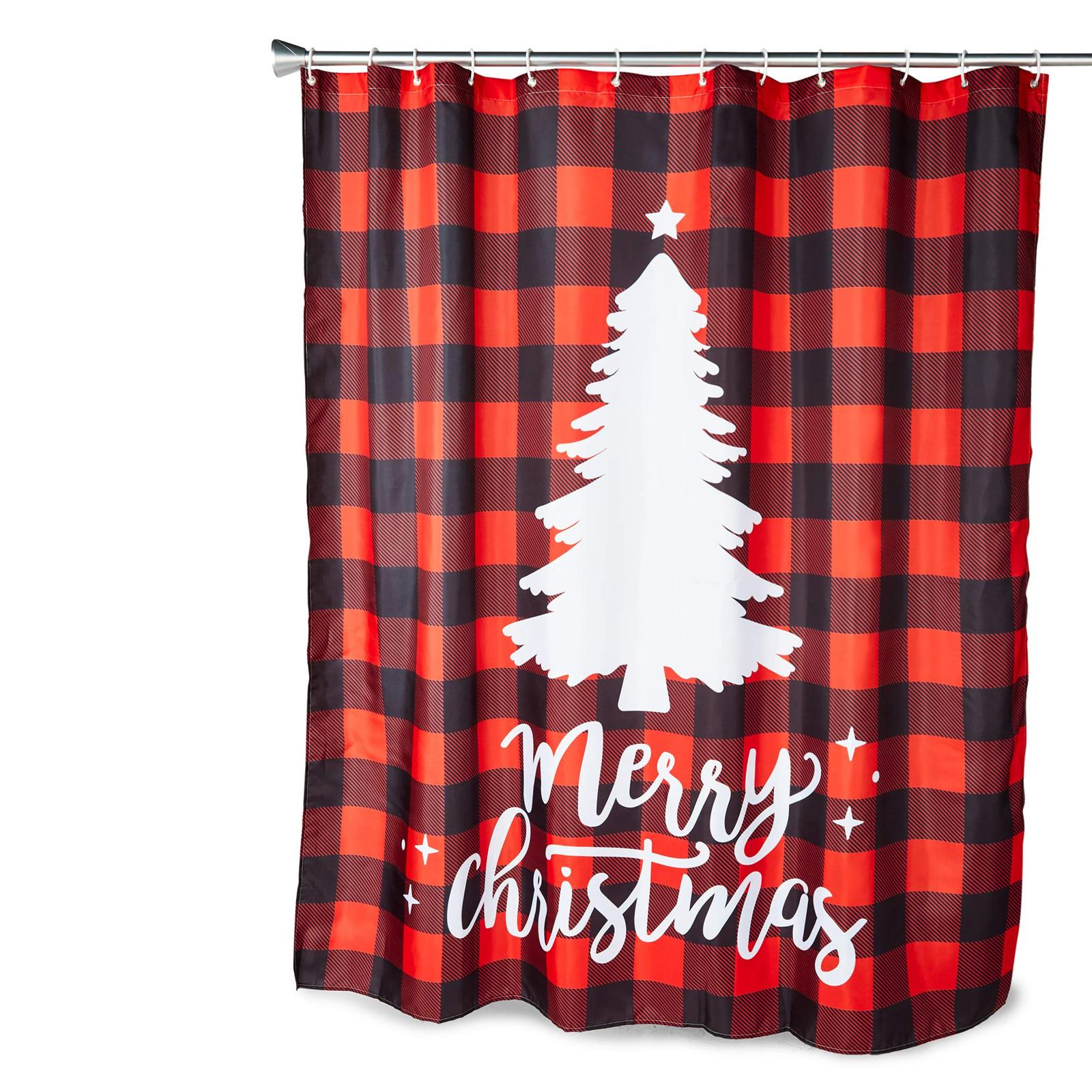 Primary image for Farmlyn Creek Buffalo Plaid Shower Curtain Set with 12 Hooks, Merry Christmas (7
