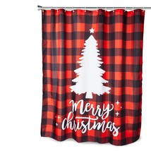 Farmlyn Creek Buffalo Plaid Shower Curtain Set with 12 Hooks, Merry Chri... - $39.11
