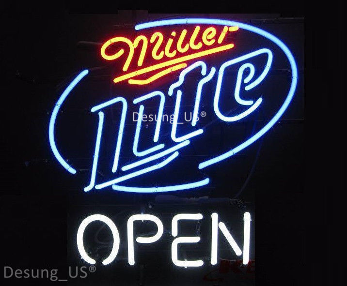 """New Miller Lite Open Beer Bar Pub Neon Sign 24""""x20"""" Ship From USA"""