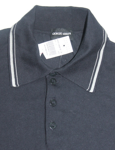 9a46ca51c $850 GIORGIO ARMANI LONG SLEEVE POLO SIZE L NWT NAVY BLUE MADE IN ITALY
