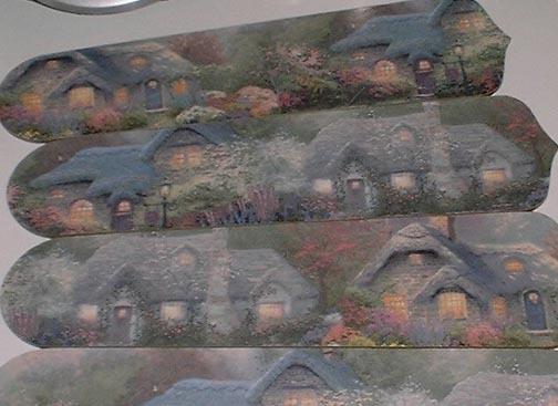 CUSTOM Ceiling Fan w /THOMAS KINKADE COTTAGE DECORATED BLADES - $89.99