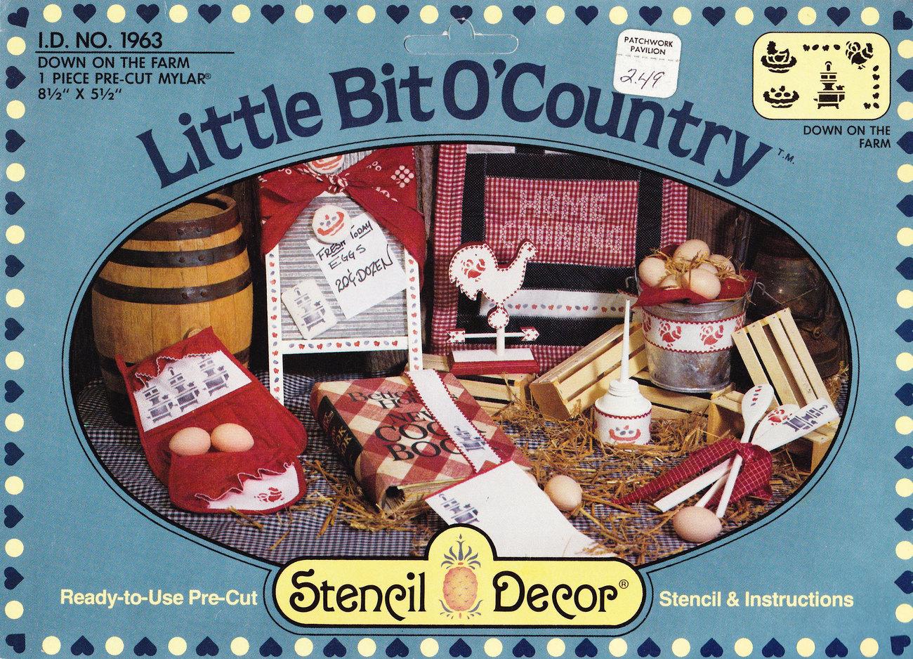 STENCIL DECOR LITTLE BIT O'COUNTRY DOWN ON THE FARM - $2.00