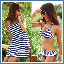 Brazilian Navy Striped Ruffled Bottoms and Padded Bra Top, Beach Skirt 3 Pc Set