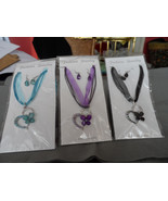 Heart w/ butterfly rhinestone accent on ribbon necklace w/ matching eari... - $10.99