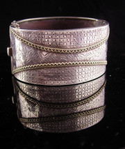 Vintage Sterling Large Cuff - Wide bracelet with tiny hearts  - artisan ... - $245.00