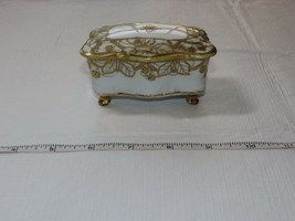 Nippon Hand Painted white gold Dresser Trinket box Vintage ~ - $39.59