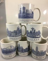 Starbucks Architect Blueprints Mug 18 oz Alaska Charlotte NY Seattle Vancouver - $37.51+