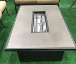 Fire pit propane coffee table height rectangular outdoor cast aluminum patio image 5