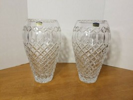 "VINTAGE POLONIA 12"" HEAVY LEAD CRYSTAL VASES MADE IN POLAND - $299.95"