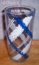 "HAZEL ATLAS GLASS-- BLUE AND WHITE TARTAN JOLLY JAR  6"" - $8.95"