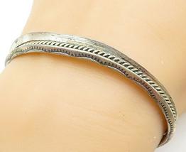 NAVAJO 925 Silver - Vintage Wheat Detail Raised Edge Cuff Bracelet - B5305 - $52.39