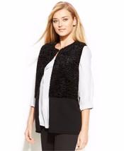New Calvin Klein Women Faux Fur Panel Open Front Knit Vest Black Size L ... - $70.78