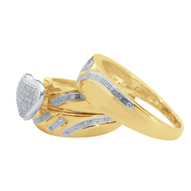 1/4 Ct T.W. Diamond Halo Heart Trio Matching Wedding Ring Set 14K Yellow Gold Fn - $155.61