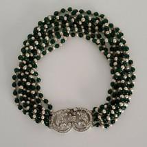 Art Deco Rhinestone Pendant Multi Strand Choker Necklace Green Beige Bea... - $27.99