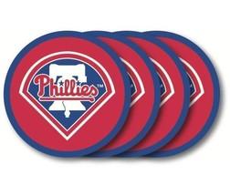 PHILADELPHIA PHILLIES 4 PACK HEAVY DUTY VINYL DRINK COASTER SET MLB BASE... - $13.92