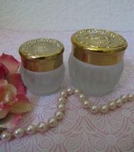 Lot/2 Vintage Estee Lauder RE NUTRIV Gold Top Powder Frosted Glass Jars ... - $17.99