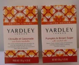 YARDLEY PUMPKIN & BROWN SUGAR Bar Soap 4.25 oz EACH LOT OF 2 WITH ESSENT... - $9.89