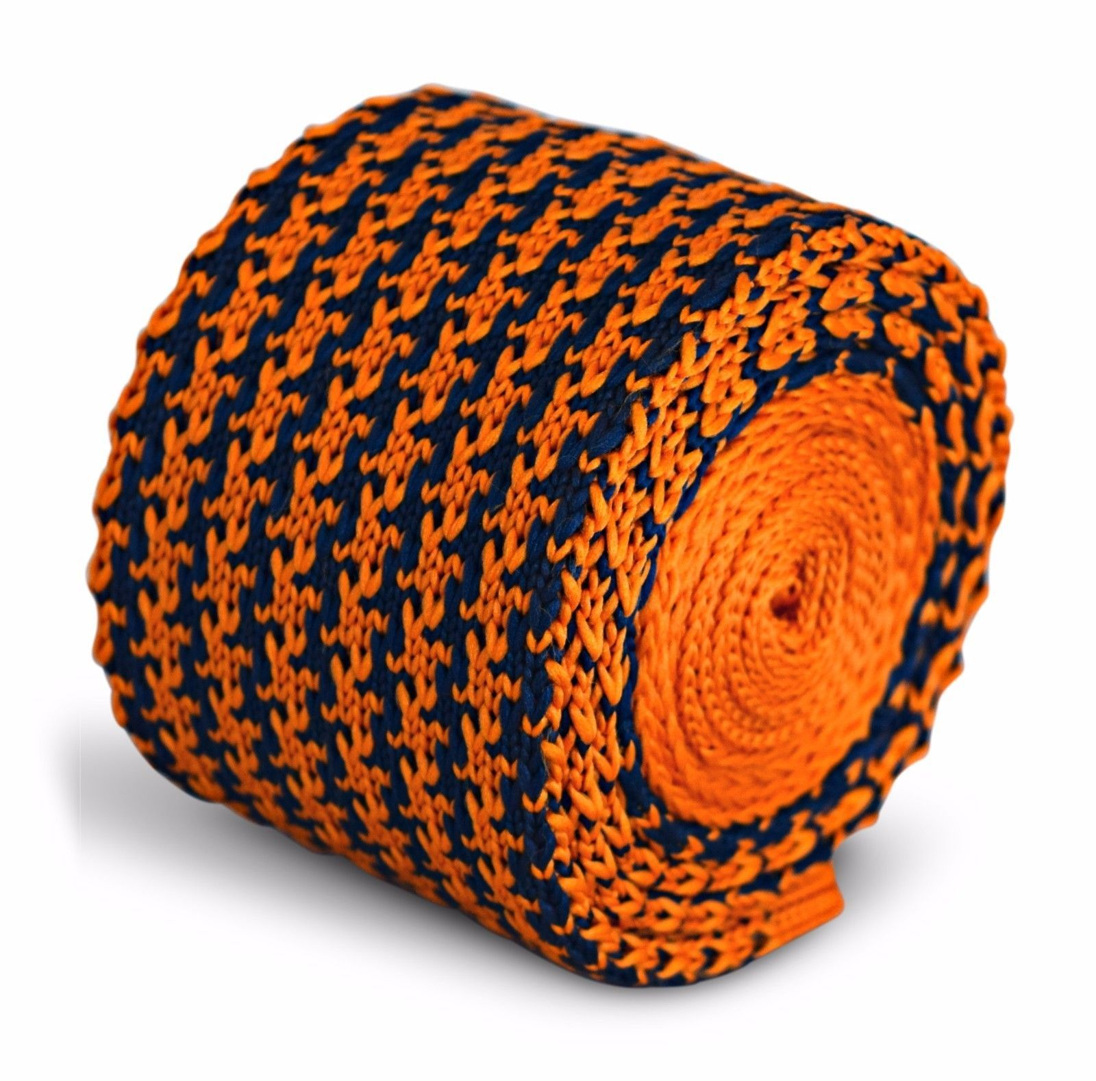 Frederick Thomas Knitted Skinny Orange and Navy Blue Dogstooth Mens Tie FT3287