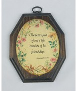 Vintage beaded domed wooden wall art hanging decor Abraham Lincoln quote - $25.69