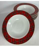 """Set of 9 PACIFIC RIM 8.5"""" Tartan Plaid Christmas Porcelain Soup Bowls - EXC - $75.23"""