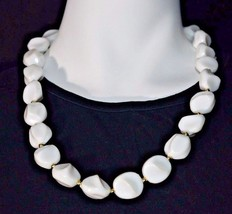 Vintage White Lucite Plastic Abstract Bead Beaded Gold Tone Choker Necklace  - $19.80
