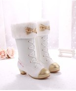 Princess Girls White Snow Boots Childrens Girls Winter Fur Boots In 3 C... - $99.99+