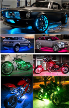 Motorcycle LED Neon Accent Glow Kit, 54 Lights, 6 Flexible Strips w/Remote - $54.45