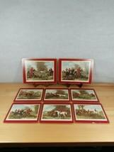 Vintage Pimpernel Red English Fox Hunting 2 Placemats 6 Trivets set Cork Backed  - $44.99