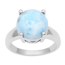 Amazing !! 12MM Round Larimar Gemstone 925 Sterling Silver Ring Size 7 S... - €23,45 EUR