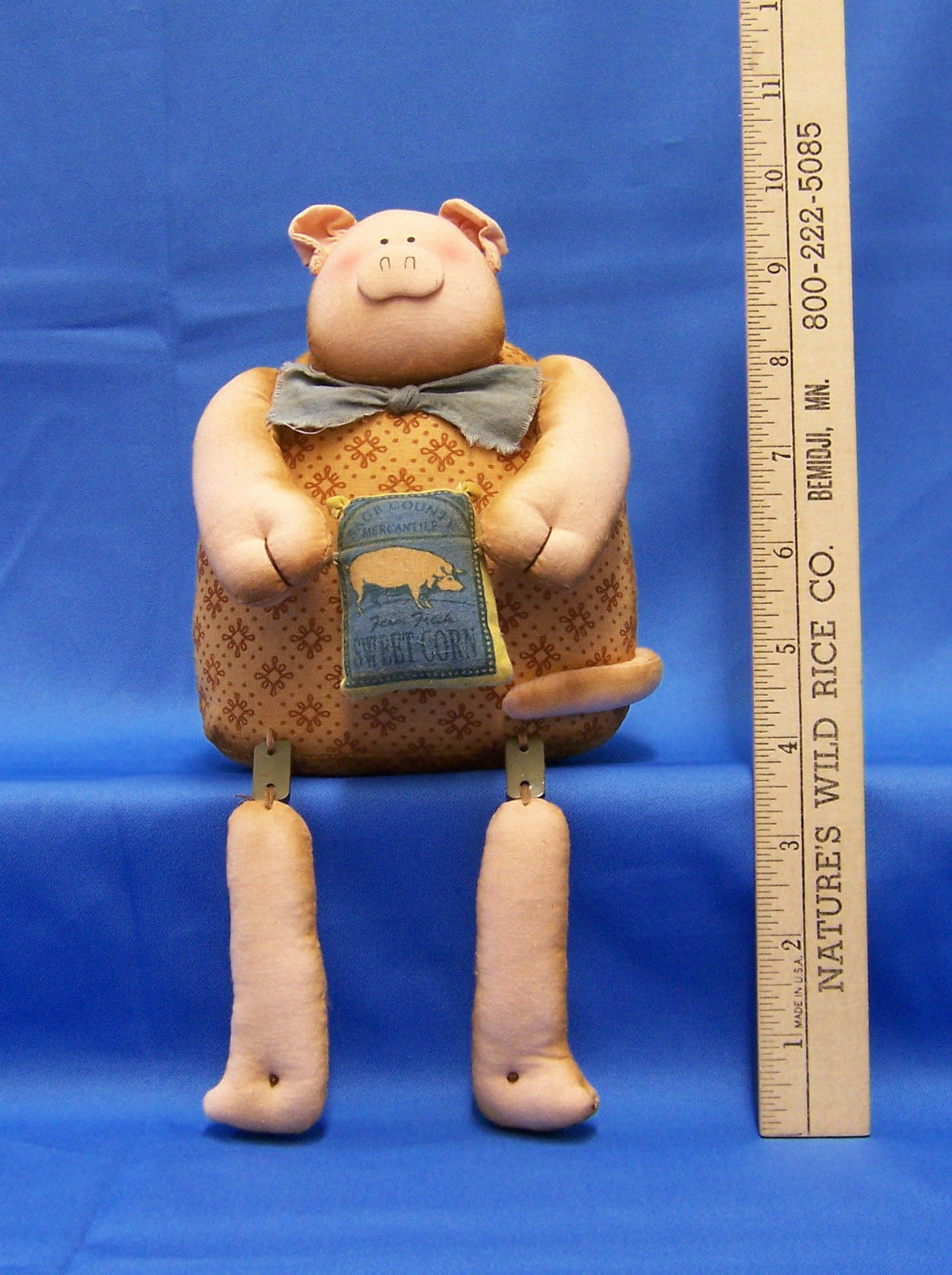 New Shelf Sitter Pig Primitive Folk Art Home Decor  Plush Fabric