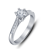 Women Lady Bridal Wedding White Sim Diamond Silver Plated Stylish Ring - $4.99
