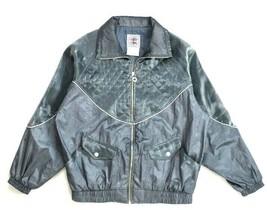 Vtg 90s Gray Windbreaker Bomber Jacket Shiny Metallic Shiny Retro Womens... - $18.80