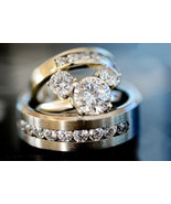 2 1/2ct Round Cut 3-Stone Mickey Mouse Engagement Trio Ring Set Solid 14... - $849.98