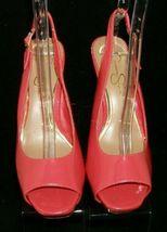 Jessica Simpson 'Barit' coral man made peep toe slingback platform heels 8B image 6
