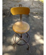 Vintage Industrial Ajusto Adjustable Wood Drafting Stool Chair  - $148.49