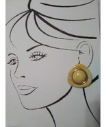 VINTAGE CLIP BUTTON STYLE EARRINGS MARBELIZED YELLOW TRIANGLES W/ ROUND ... - $20.00