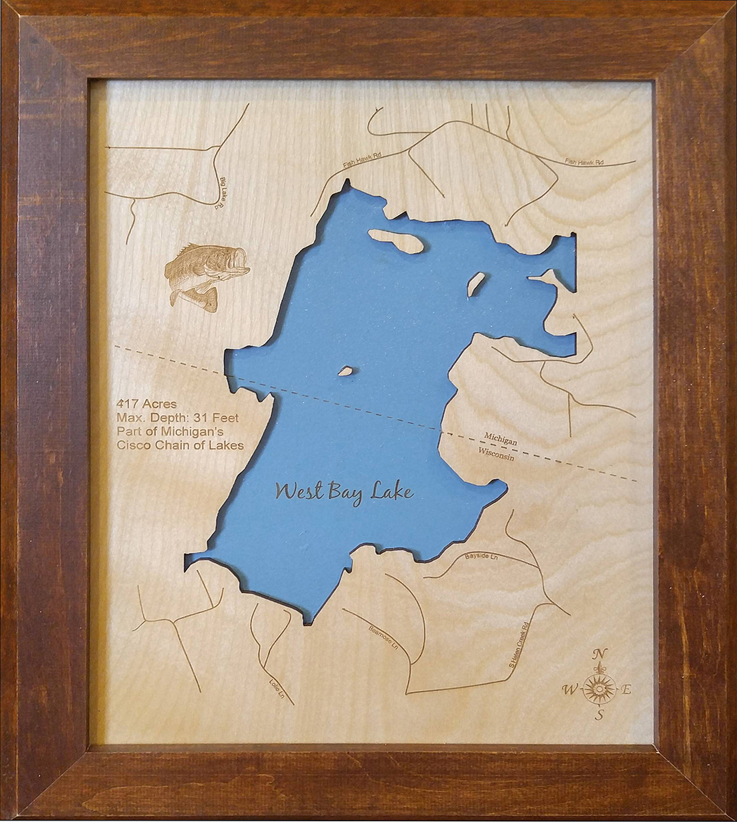 Wood Laser Cut Map Of West Bay Lake And Similar Items - Small framed world map