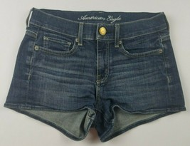 American Eagle Womens Jean Shorts Sz 0 Stretch Booty Short Mini Dark Was... - $24.13