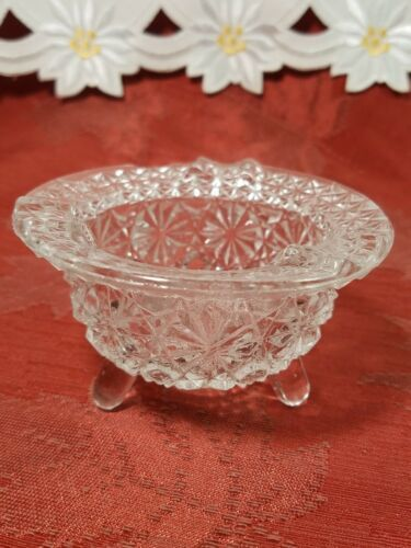 """Vintage Clear Pressed Glass Personal Ashtray Three Legs   3 1/4"""""""