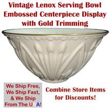 Vintage Lenox Ionic Ivory Embossed Serving Bowl Centerpiece Gold Trim  - $59.99