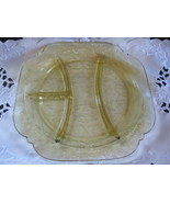 amber depression glass grill plate madrid pattern - $25.00